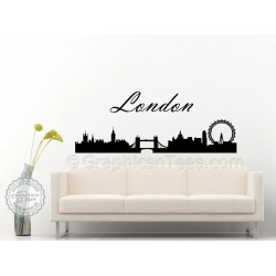 London Skyline Silhouette Wall Sticker Home Mural Decor Decal