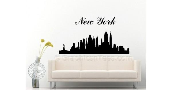 New York Skyline Silhouette Wall Sticker Home Mural Decor Decal