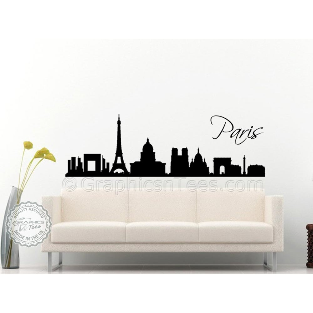 Paris skyline silhouette wall sticker home mural decor decal for Decal wall art mural