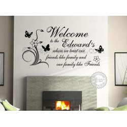 Personalised Family Name, Welcome, Friends Like Family, Home Wall Sticker
