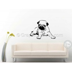 Cute Pug Puppy Dog Lying Down Wall Sticker, Vinyl Mural Decal