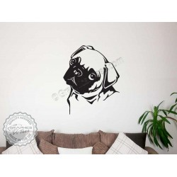 Cute Pug Puppy Dog Wall Sticker, Vinyl Mural Decal
