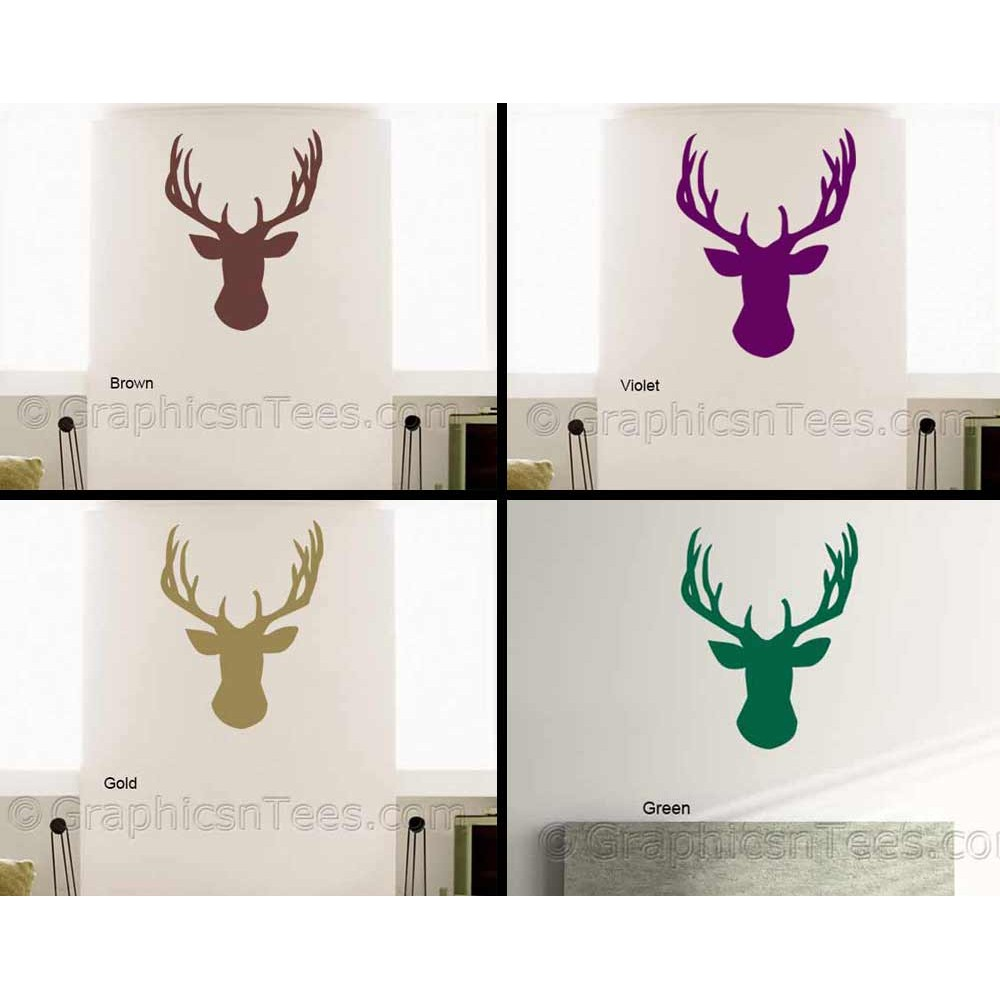 Stags Head Wall Sticker, Vinyl Wal Mount Home Mural Decor