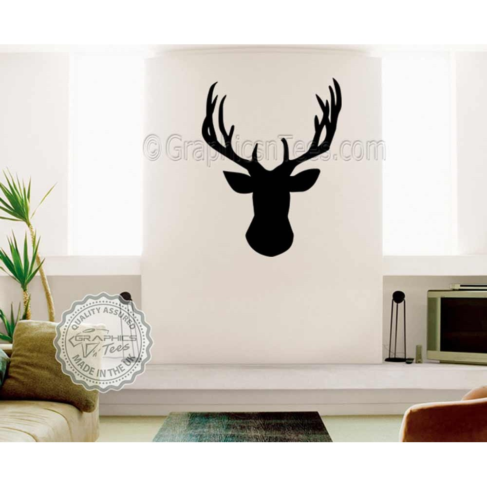 Stags Head Wall Sticker, Vinyl Wal Mount Home Mural Decor Decal