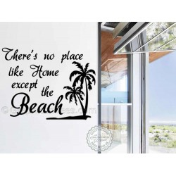 Summer Surf Beach Wall Sticker Quote, No Place Like Home Except The Beach, Wall Mural Decor Decal with Palm Tree