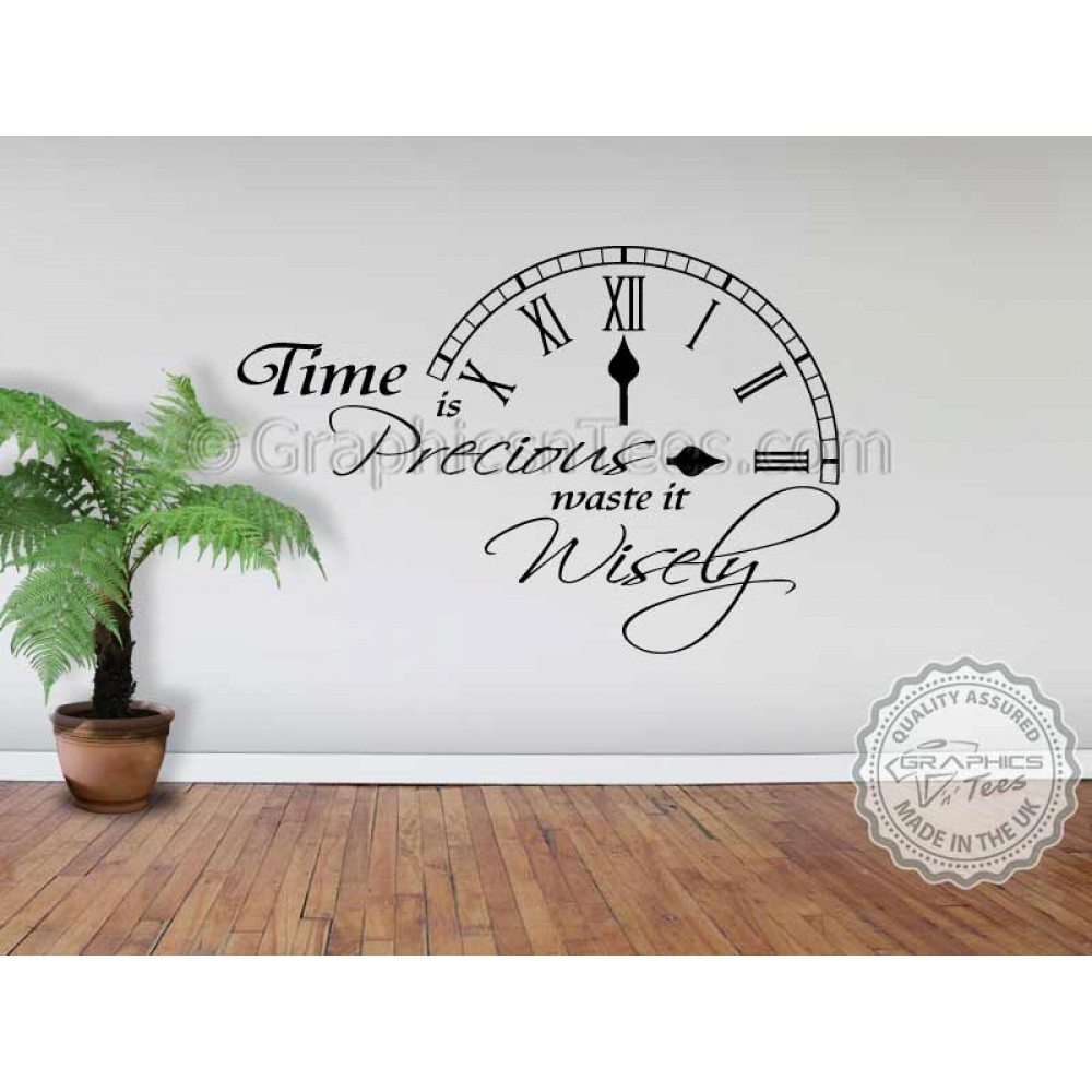 Time Is Precious Waste It Wisely Inspirational Wall Quote Family Wall Art  Clock Mural Decor Decal