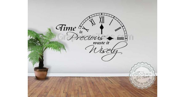 time is precious waste it wisely inspirational wall quote