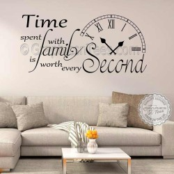 Time Spent with Family Inspirational Wall Sticker Quote, Living Room Home Vinyl Wall Art Decor Decal 03
