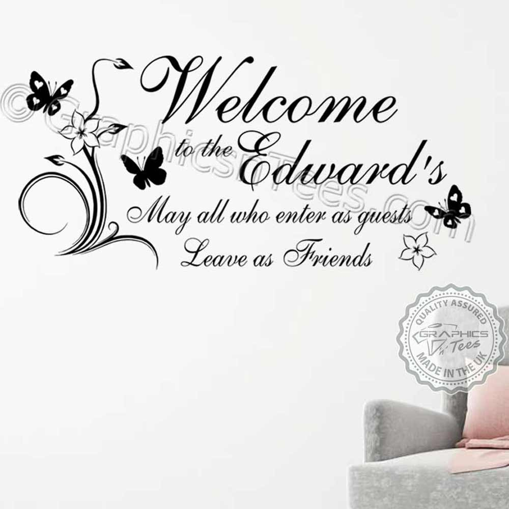 Personalised Welcome Family Bar Restaurant Pub Entrance Wall Sticker