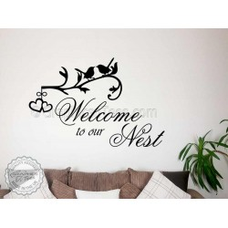 Family Wall Sticker Quote, Welcome To Our Nest, Home Wall Mural Decor Decal
