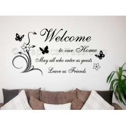 Family Wall Sticker, Welcome To Our Home, Leave as Friends, Home Wall Sticker with Flowers and Butterflies
