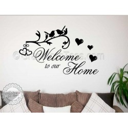 Welcome To Our Home, Inspirational Family Wall Sticker Quote Decor Decal with Birds and Hearts