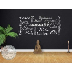 Namaste Yoga Quote Wall Sticker Yoga Studio Wall Art Montage Decor Decal
