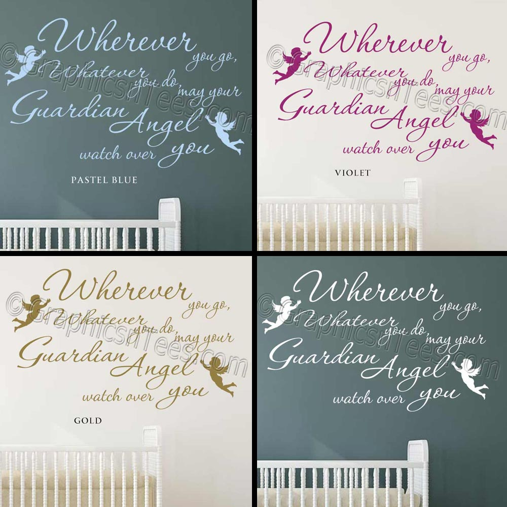 Baby Guardian Angel Quotes: Nursery Wall Sticker Quote, Guardian Angel, Wherever You