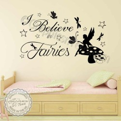 Fairy Wall Stickers I believe in Fairies Bedroom Nursery Wall Sticker Quote with Butterflies