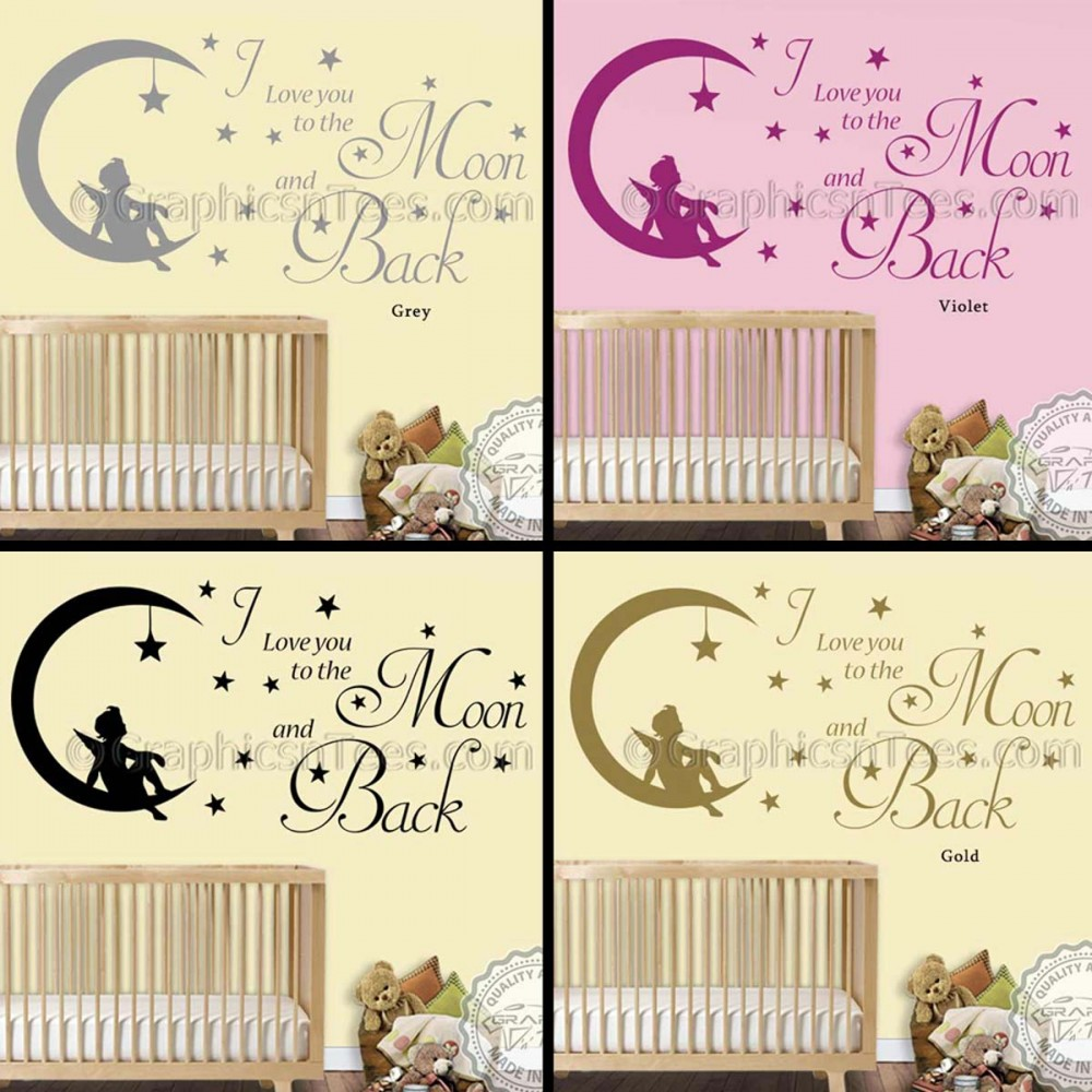I Love You To The Moon and Back Wall Sticker Quote, Baby Boy Girl ...