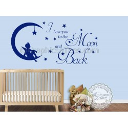 I Love You To The Moon and Back Wall Sticker Quote, Baby Boy Girl Nursery Bedroom Wall Decor Decal