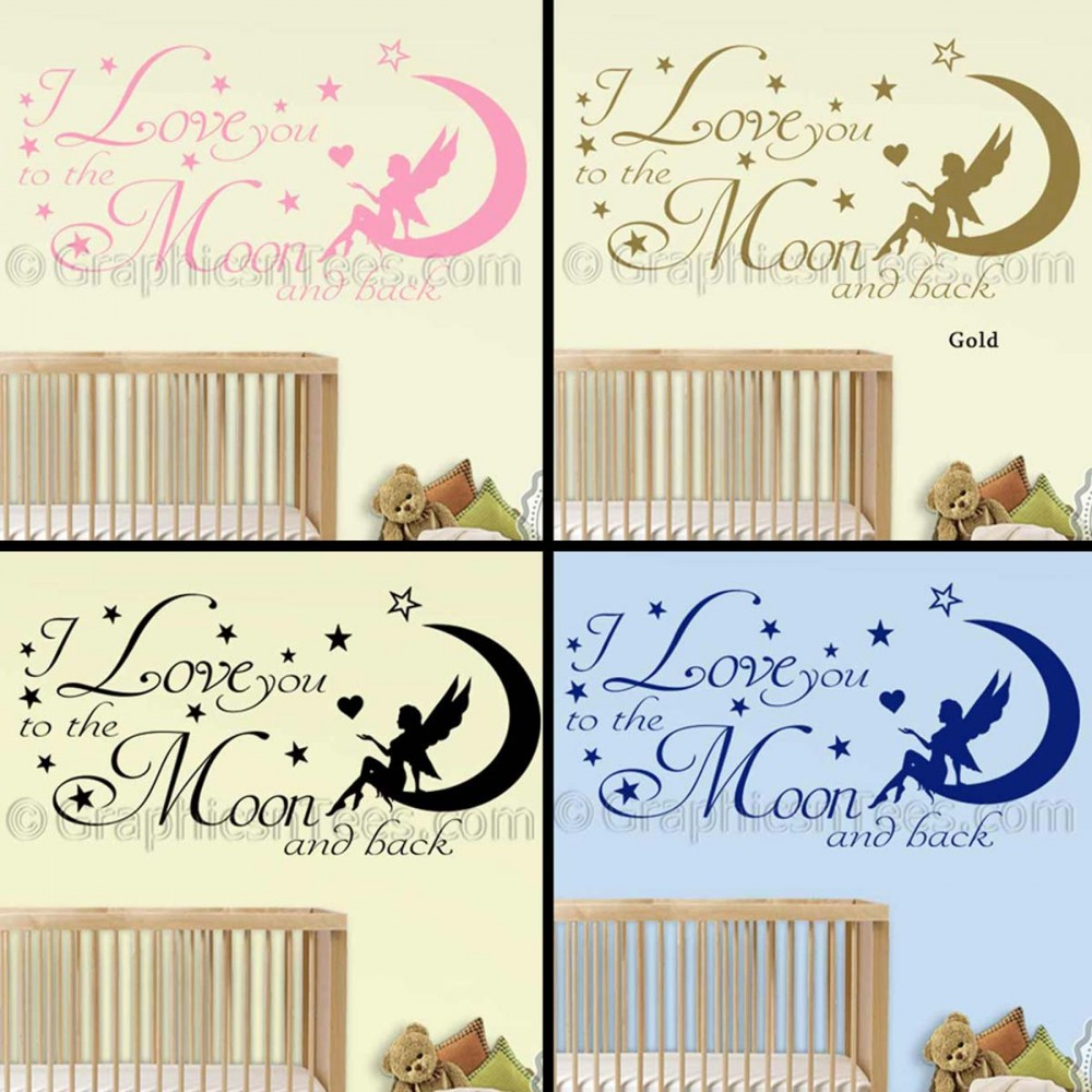 I Love You Quotes: I Love You To The Moon And Back Wall Sticker, Baby Boy