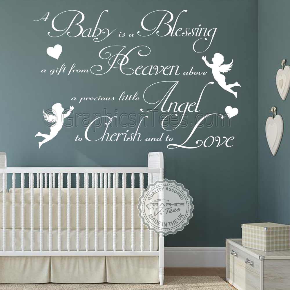 Baby Boy Nursery Wall Decals: Boys Girls Nursery Wall Sticker A Baby Is A Blessing