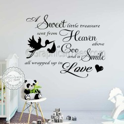 Boys Girls Nursery Wall Sticker Baby Bedroom Wall Quote Decor Decal A Sweet Little Treasure