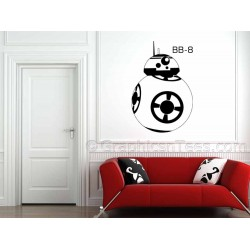 Star Wars BB-8 Droid, Wall Sticker, Force Awakens Wall Art Decal