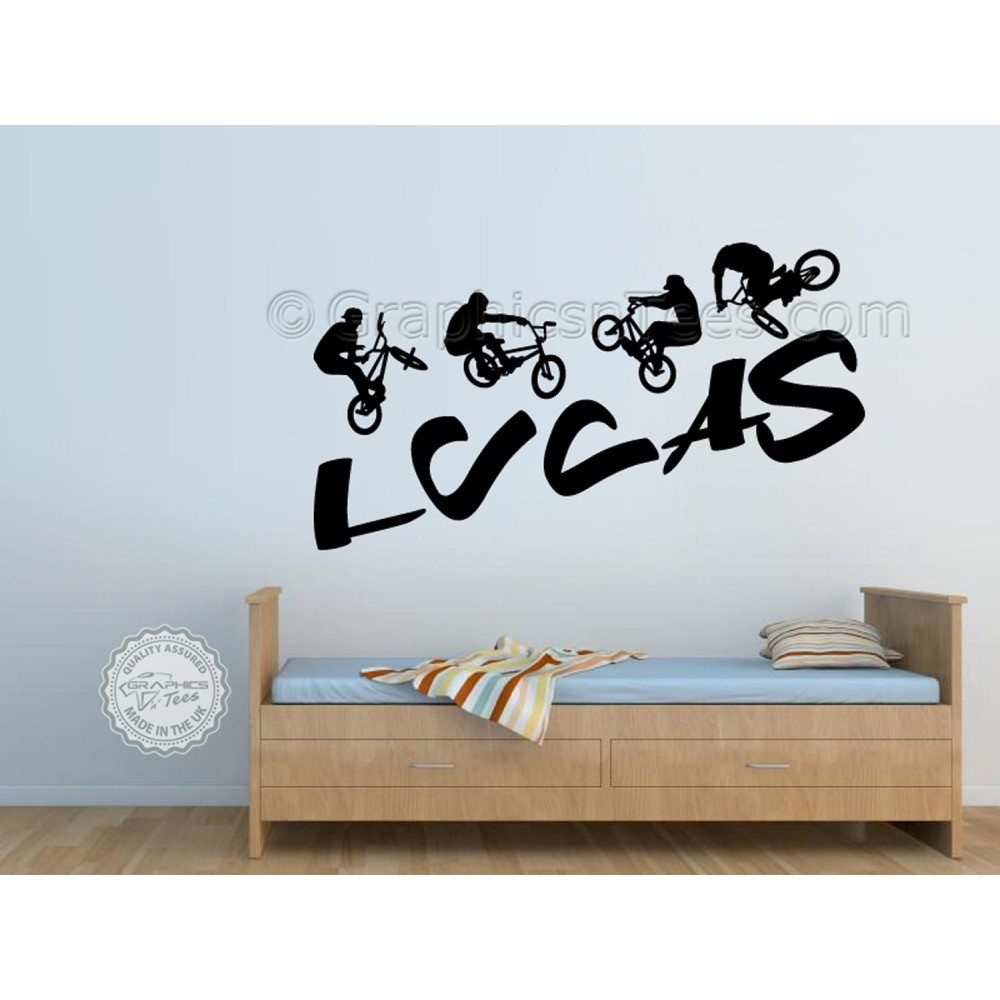 Personalised BMX Bike Wall Stickers Boy Girls Bedroom Playroom Wall Art Sticker Decor Decals  sc 1 st  Graphics u0027nu0027 Tees & Personalised BMX Bike Wall Stickers Boy Girls Bedroom Playroom Wall ...