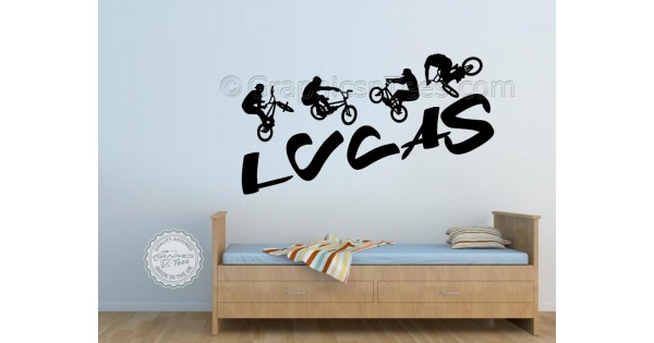 Personalised BMX Bike Wall Stickers, Boy Girls Bedroom Playroom Wall Art  Sticker Decor Decals