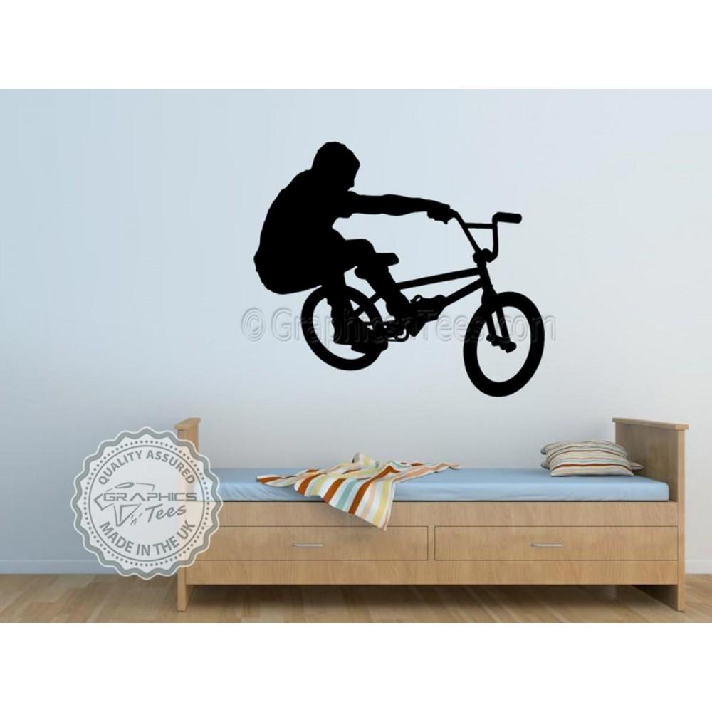 Wall Vinyl Stickers Stunt Bike Boys Room Murals Decals BMX Riders Pack of 4