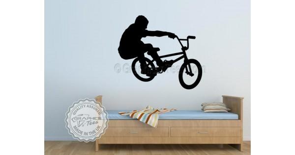 Bmx bike stunt rider wall sticker boys girls bedroom wall for Bmx bedroom ideas