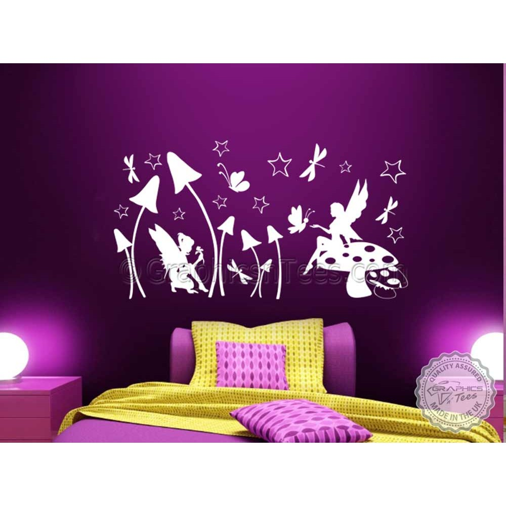 Fairies u0026 Butterflies Wall Sticker Girls Bedroom Nursery Playroom Wall Decal  sc 1 st  Graphics u0027nu0027 Tees & Fairies u0026 Butterflies Wall Sticker Girls Bedroom Nursery Playroom ...