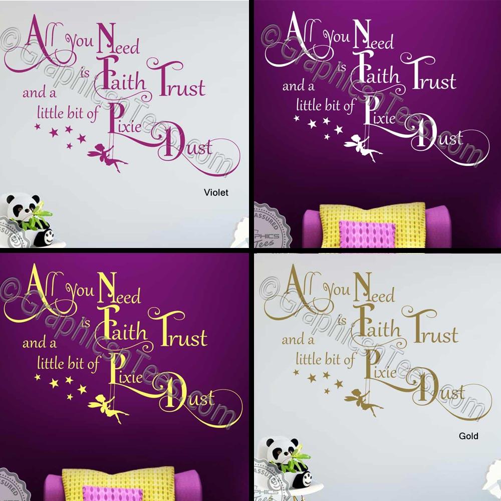 Faith Trust Pixie Dust Nursery Bedroom Wall Sticker Quote Boys