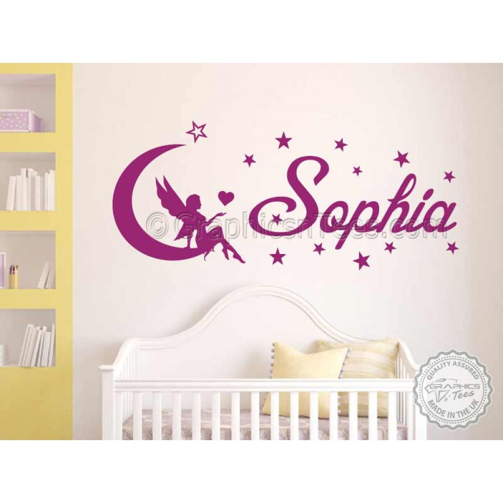 Personalised Nursery Wall Sticker With Fairy Sitting On