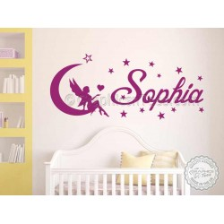 Personalised Nursery Wall Sticker with Fairy Sitting on Moon, Children's Bedroom Playroom Wall Decor Decals