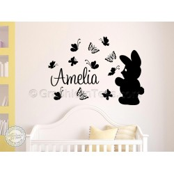 Childrens Personalised Bunny and  Butterflies Wall Sticker, Nusery Bedroom Playroom Wall Decor Decals