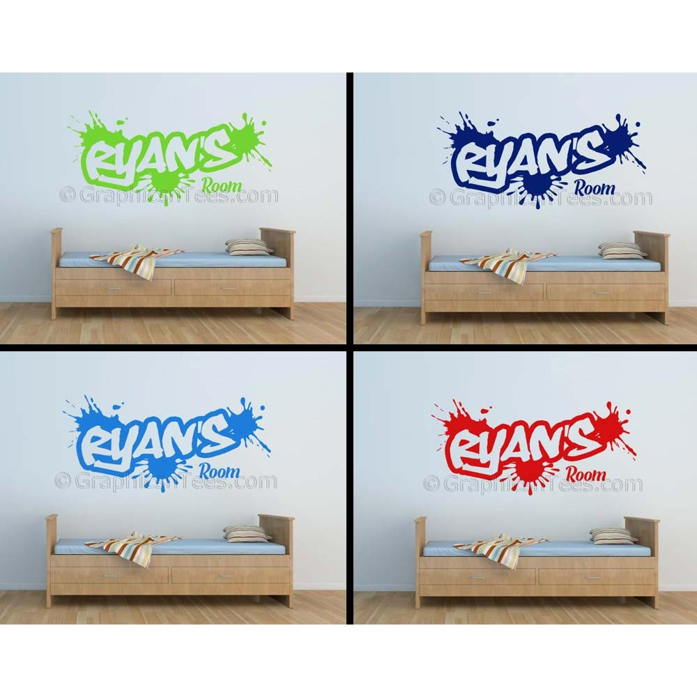 Personalised wall decor stickers : Personalised graffiti wall stickers boy girls bedroom