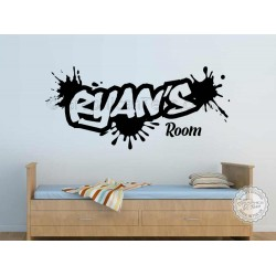 Personalised Graffiti Wall Stickers, Boy Girls Bedroom Playroom Wall Art Sticker Decor Decals