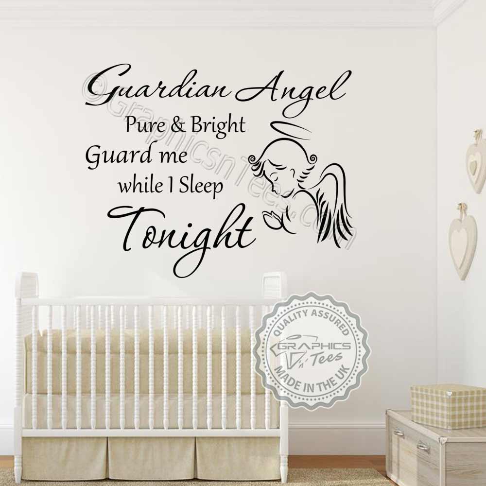 Guardian Angel Nursery Wall Sticker Baby Boy Girl Bedroom Wall Quote ...