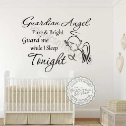 Guardian Angel Nursery Wall Sticker Baby Boy Girl Bedroom Wall Quote Decor Decal with Praying Angel