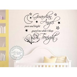 Guardian Angel, Guard Me While I Sleep Tonight,  Nursery Wall Sticker Quote, with sleeping baby angel