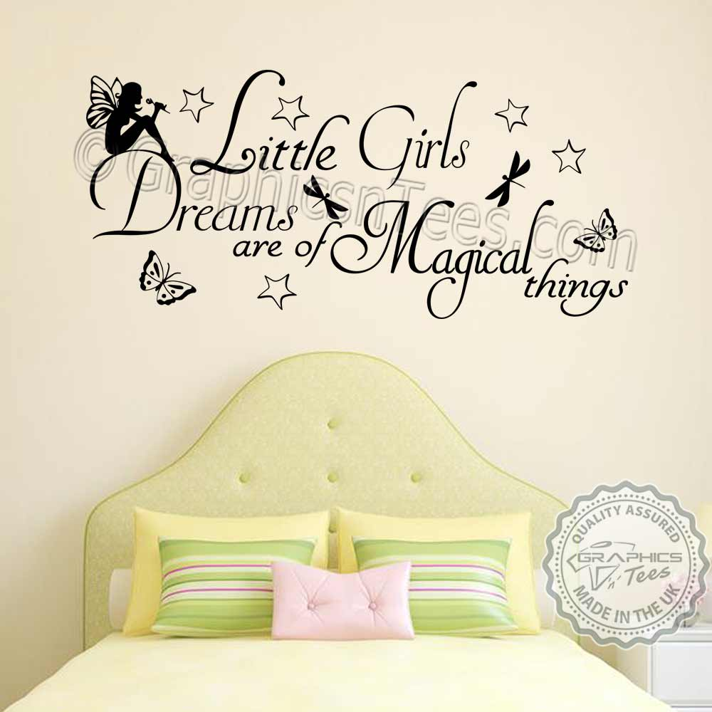 Little Girls Dreams Magical Things Bedroom Nursery Wall Sticker ...