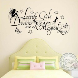 Little Girls Dreams Magical Things Bedroom Nursery Wall Sticker Quote Decor Decal with Fairy