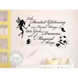 Little Girls Dreams Nursery Wall Sticker Quote with Fairy and Butterflies Decor Decal