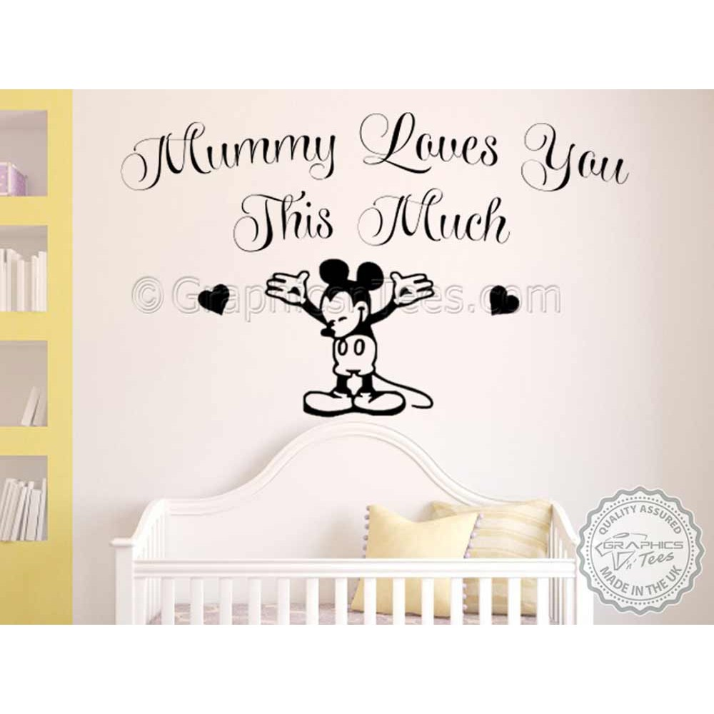 nursery wall sticker quote mummy loves you mickey mouse bedroom