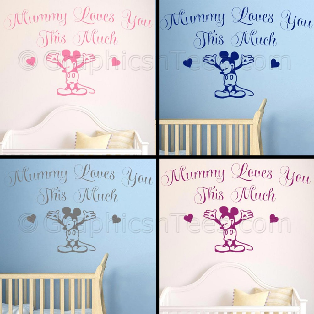 Nursery Wall Sticker Quote, Mummy Loves You Mickey Mouse Bedroom Wall Decor  Decal