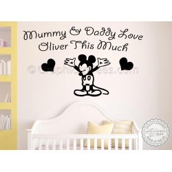 Personalised Mickey Mouse Nursery Bedroom Wall Sticker Decor Decal Mummy & Daddy Love You