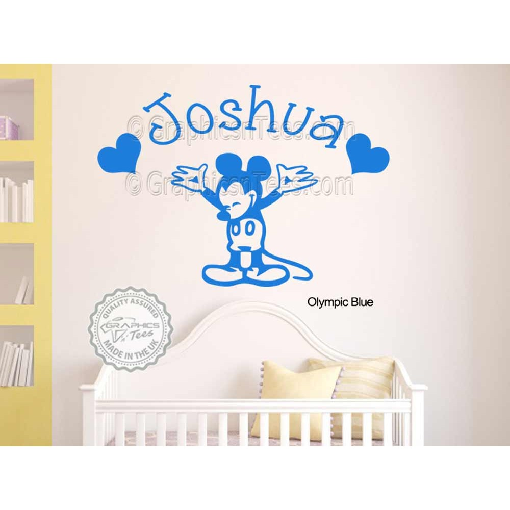 personalised mickey mouse nursery wall sticker baby boy girl bedroom playroom decor decal. Black Bedroom Furniture Sets. Home Design Ideas