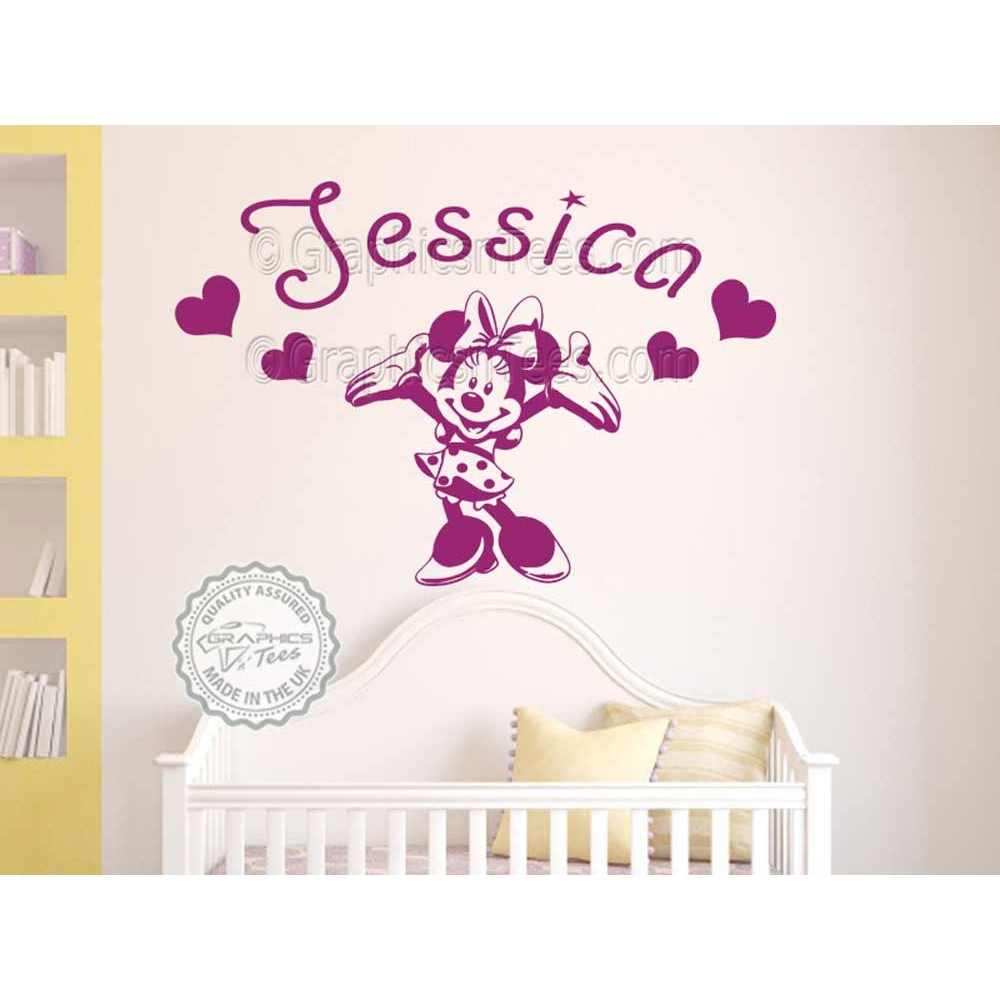 personalised minnie mouse nursery wall sticker baby boy girl bedroom playroom decor decal. Black Bedroom Furniture Sets. Home Design Ideas