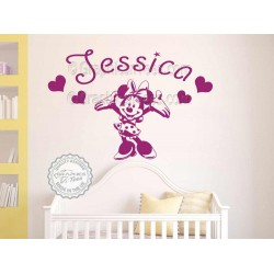 Personalised Minnie Mouse Nursery Wall Sticker, Baby Boy Girl Bedroom Playroom Decor Decal