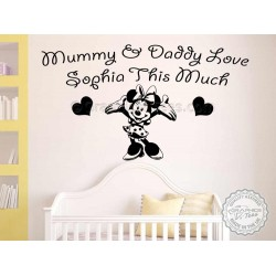 Personalised Nursery Wall Sticker, Minnie Mouse Bedroom Playroom Decor Decal, Mummy & Daddy Love This Much,
