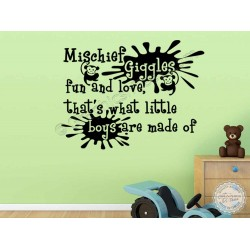 Baby Boys Nursery Wall Sticker Quote, Bedroom Wall Decor Decal Mischief Giggles Fun and Love